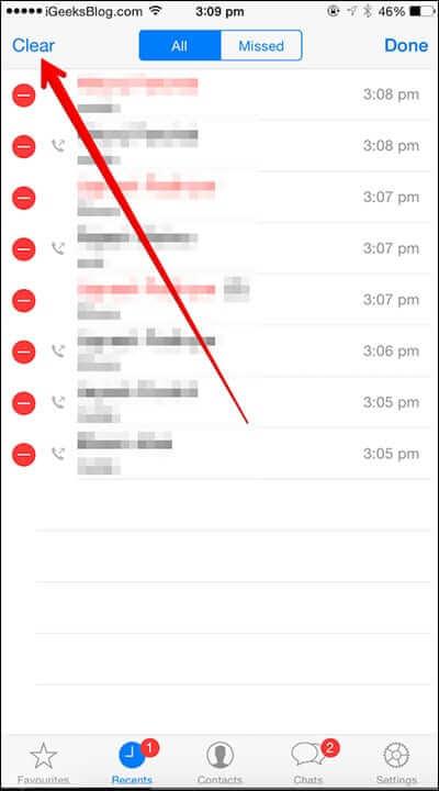 Delete WhatsApp Call History on iPhone