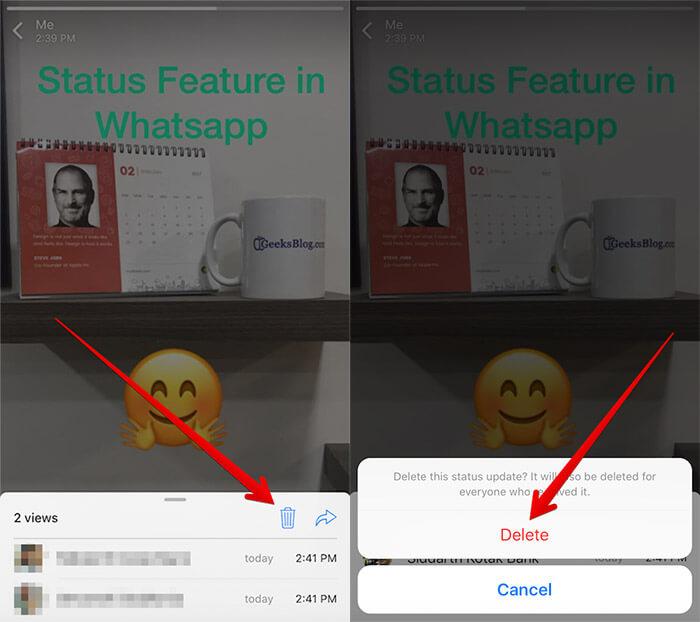 Delete WhatsApp Status on iPhone