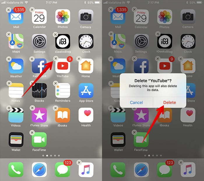 Delete YouTube App from iPhone and iPad