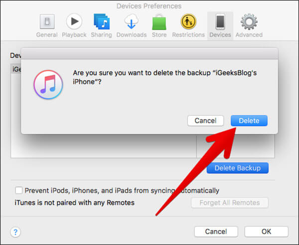 Delete iDevice Backup from iTunes on Mac