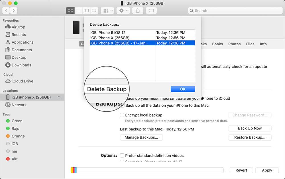 Delete iPhone Backup on Mac Running macOS Catalina