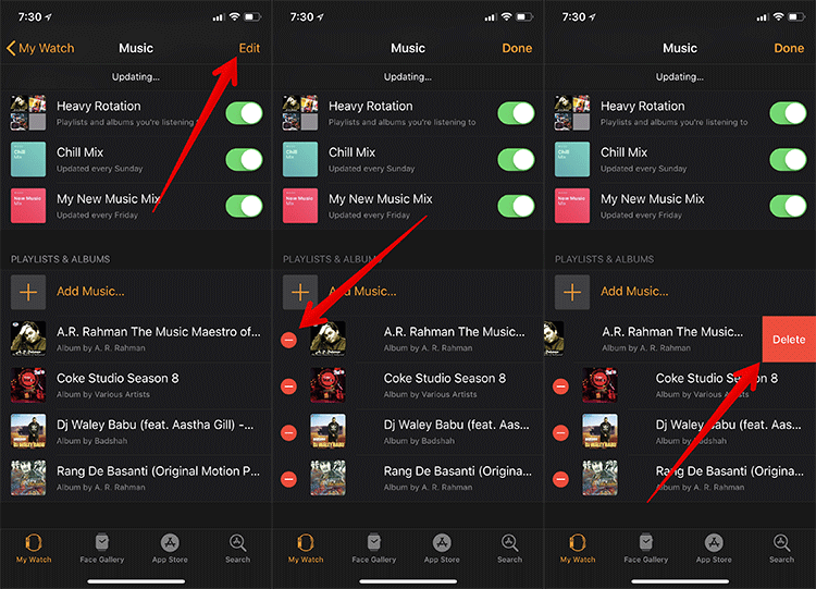 Delete iPhone Playlists from Apple Watch
