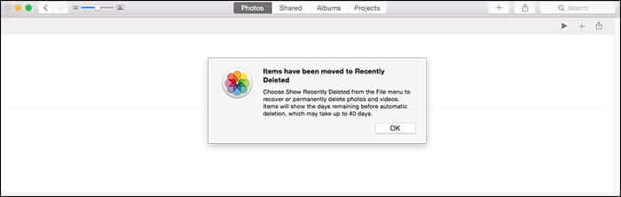 Deleted Photos Popup in Mac OS X