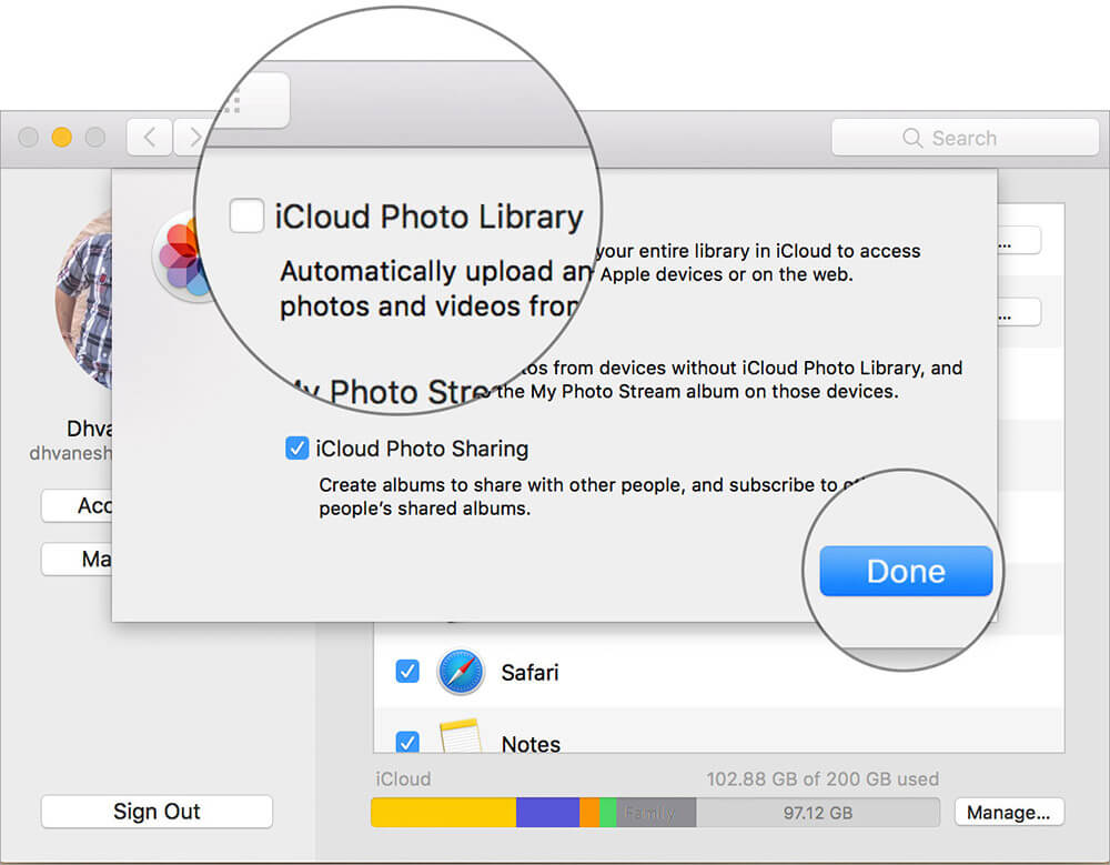 Deselect iCloud Photo Library and click Done on Mac iCloud Settings