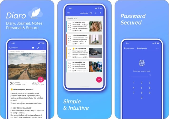 Diaro journal app for iPhone and iPad