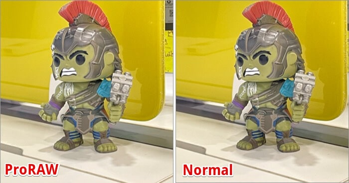 Difference between ProRAW and Normal Photo Shoot