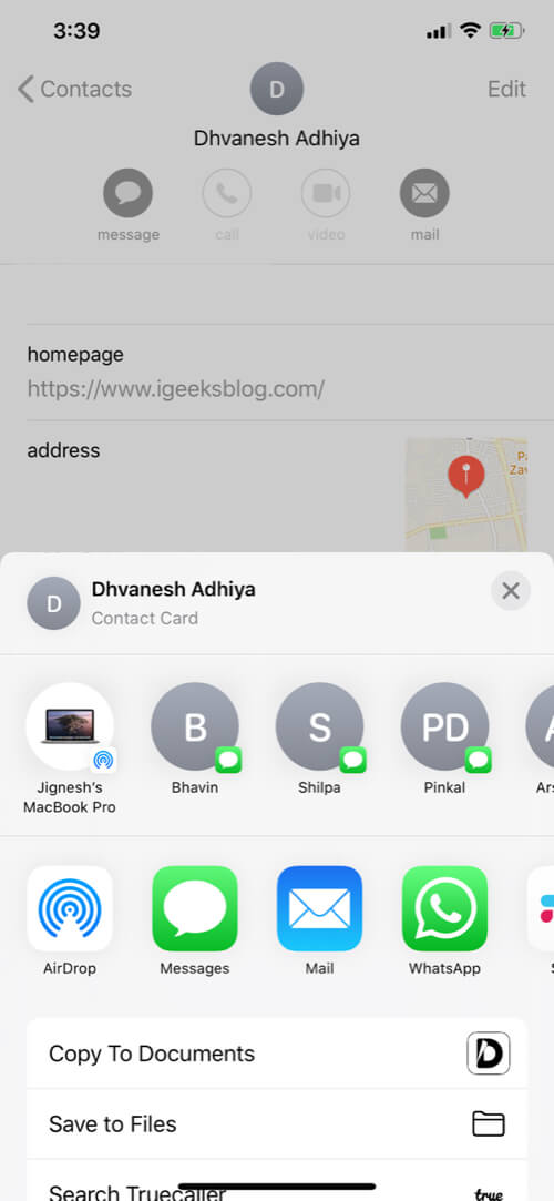Different Ways to Share Contact from iPhone