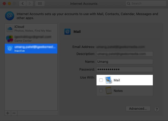 Disable Account from Mail app on Mac