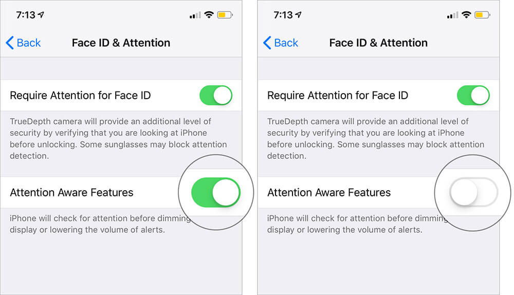 Disable Attention Aware Features on iPhone X, Xs, Xs Max, and XR