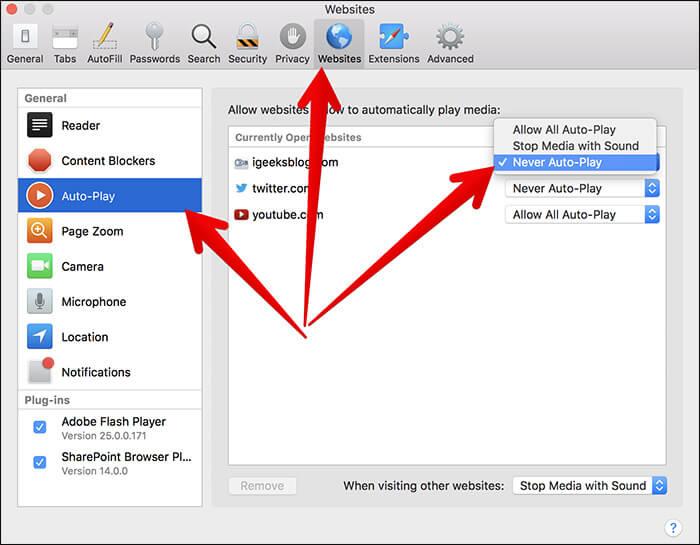 Disable Auto-play Video in Safari on Mac