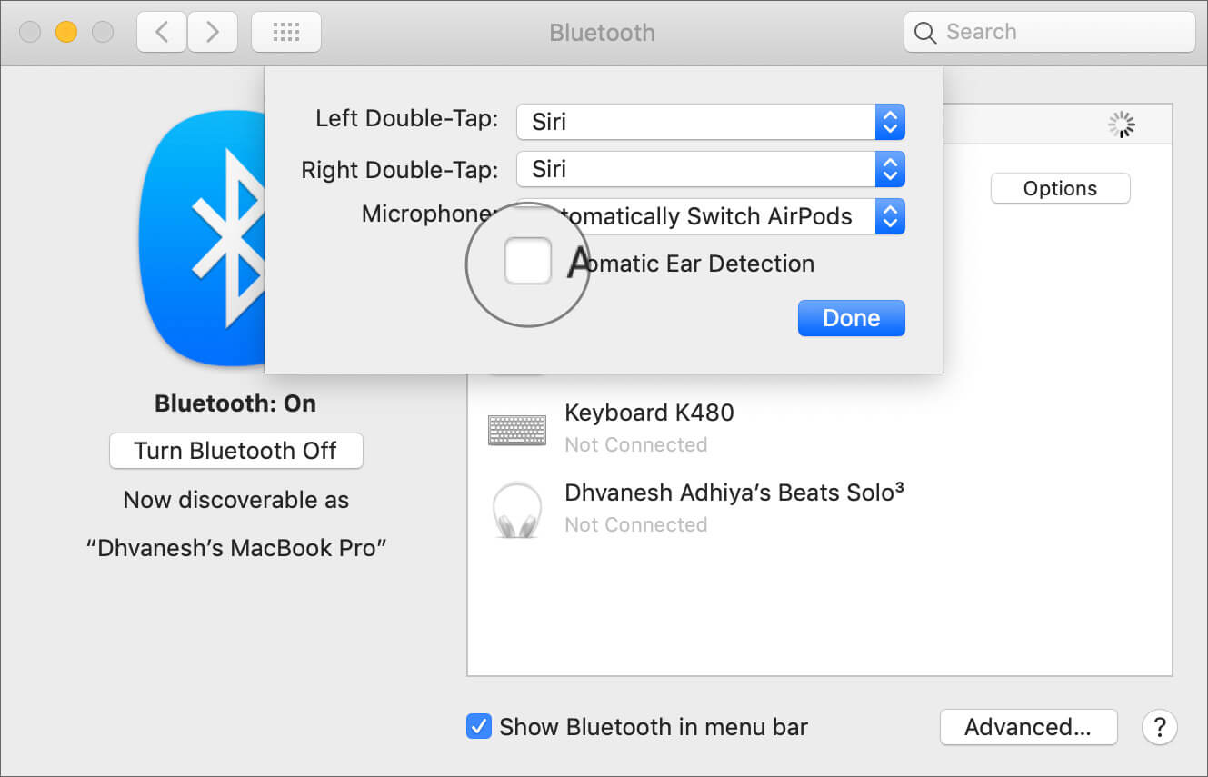 Disable Automatic Ear Detection from Mac