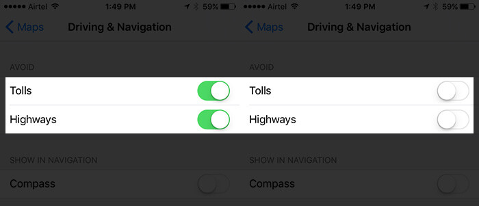 Disable Avoid Tolls and Highways in Maps App in iOS 10
