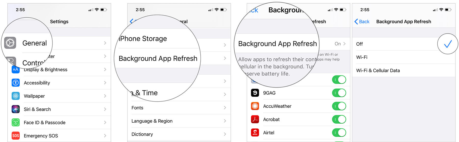 Disable Background App Refresh in iOS 13 on iPhone