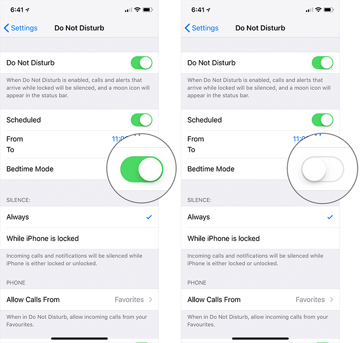 Disable Bedtime Mode in iOS 12 on iPhone