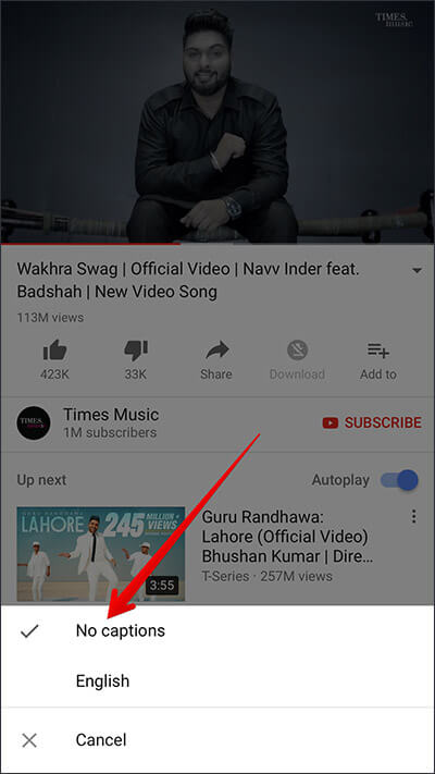 Disable Caption in YouTube on iPhone, iPad, and Android