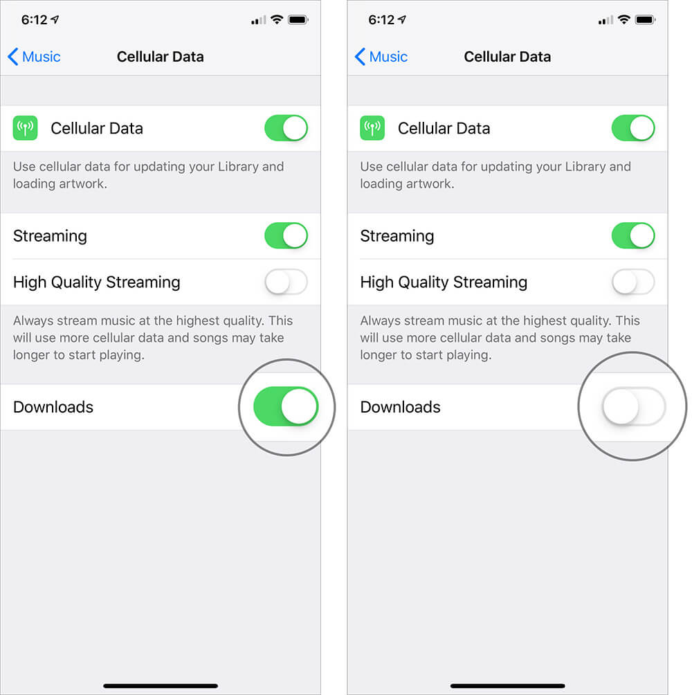Disable Cellular Data for Music Downloads
