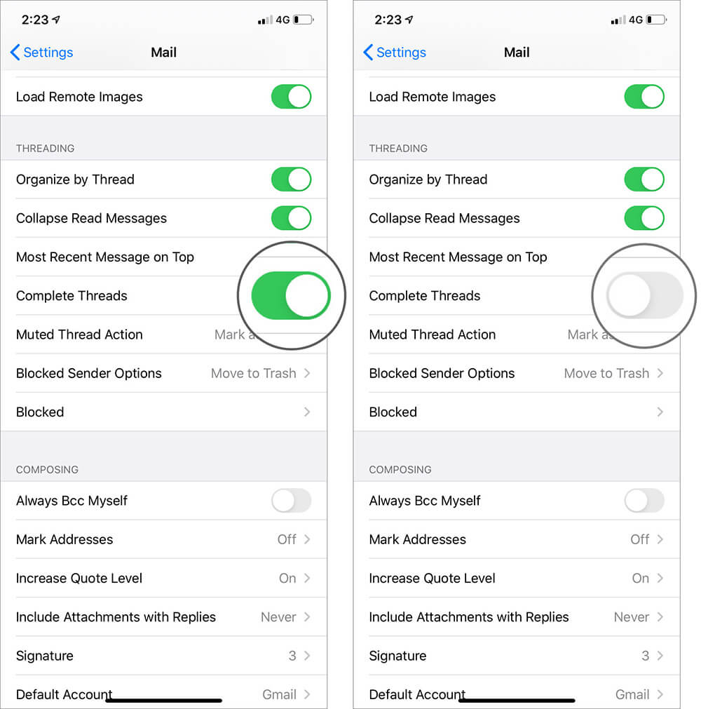 Disable Complete Thread in Threading Option in iOS 13 Mail Settings