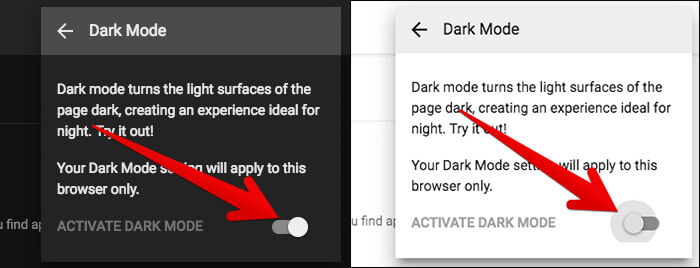 Disable Dark Mode in YouTube