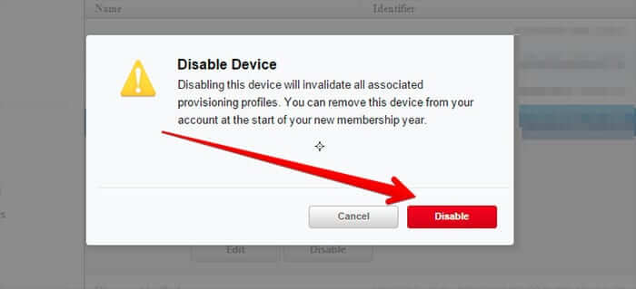 Disable Device from Apple Developer Account