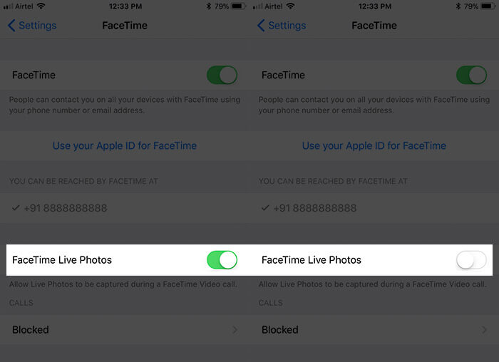 Disable FaceTime Live Photos on iPhone in iOS 11