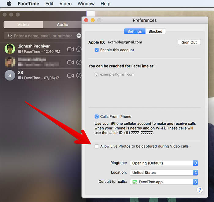 Disable FaceTime from Taking Live Photos on Mac in macOS High Sierra