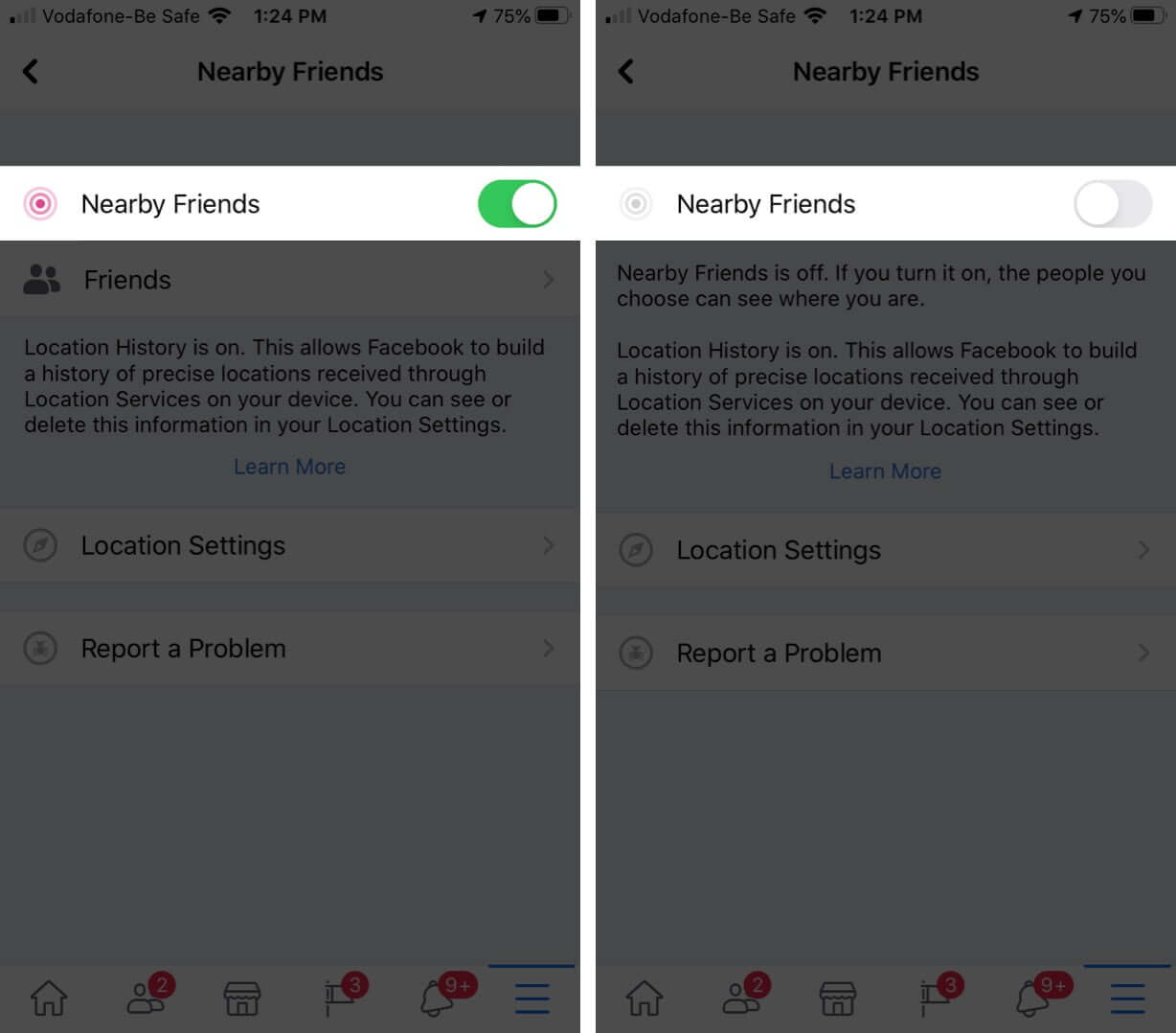 Disable Facebook Nearby Friends Feature on iPhone
