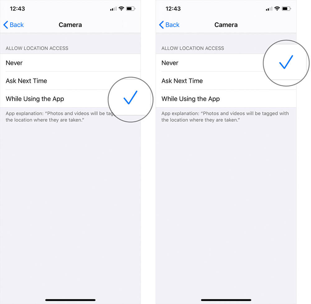 Disable Geotagging for Photos on iPhone or iPad