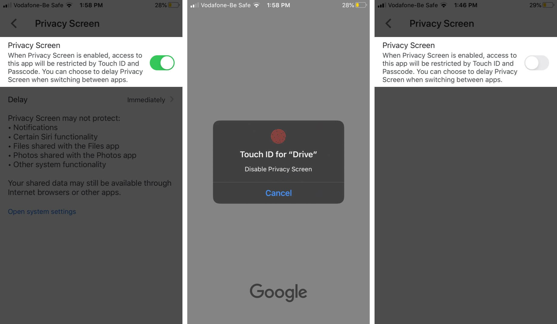 Disable Google Drive Privacy Feature on iPhone