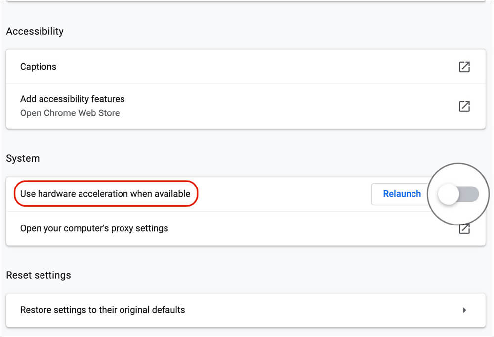 Disable Hardware Acceleration in Chrome Advance Settings on Mac