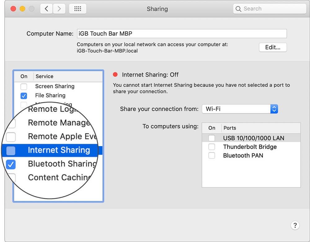 Disable Internet Sharing on Mac