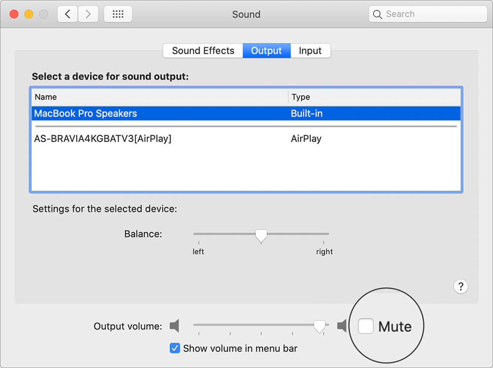 Disable Mute in macOS Sound Output Tab