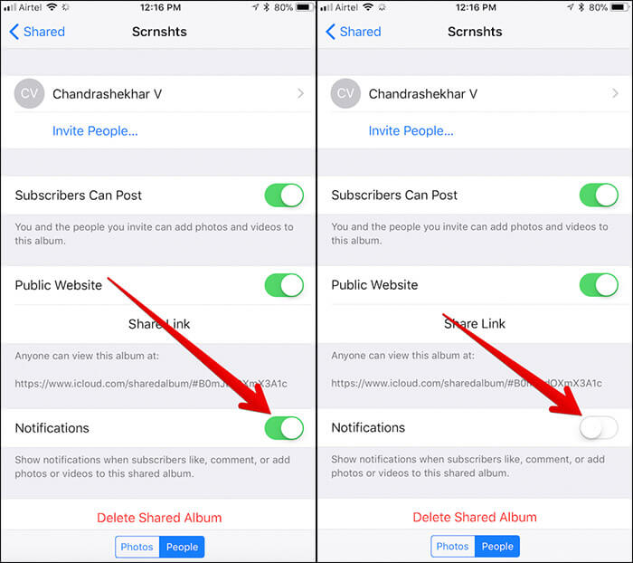 Disable Notifications from Individual Photo Stream on iPhone and iPad