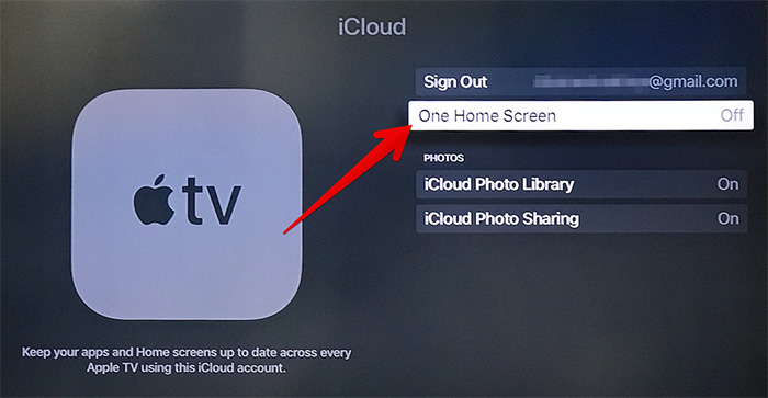 Disable One Home Screen on All Apple TV