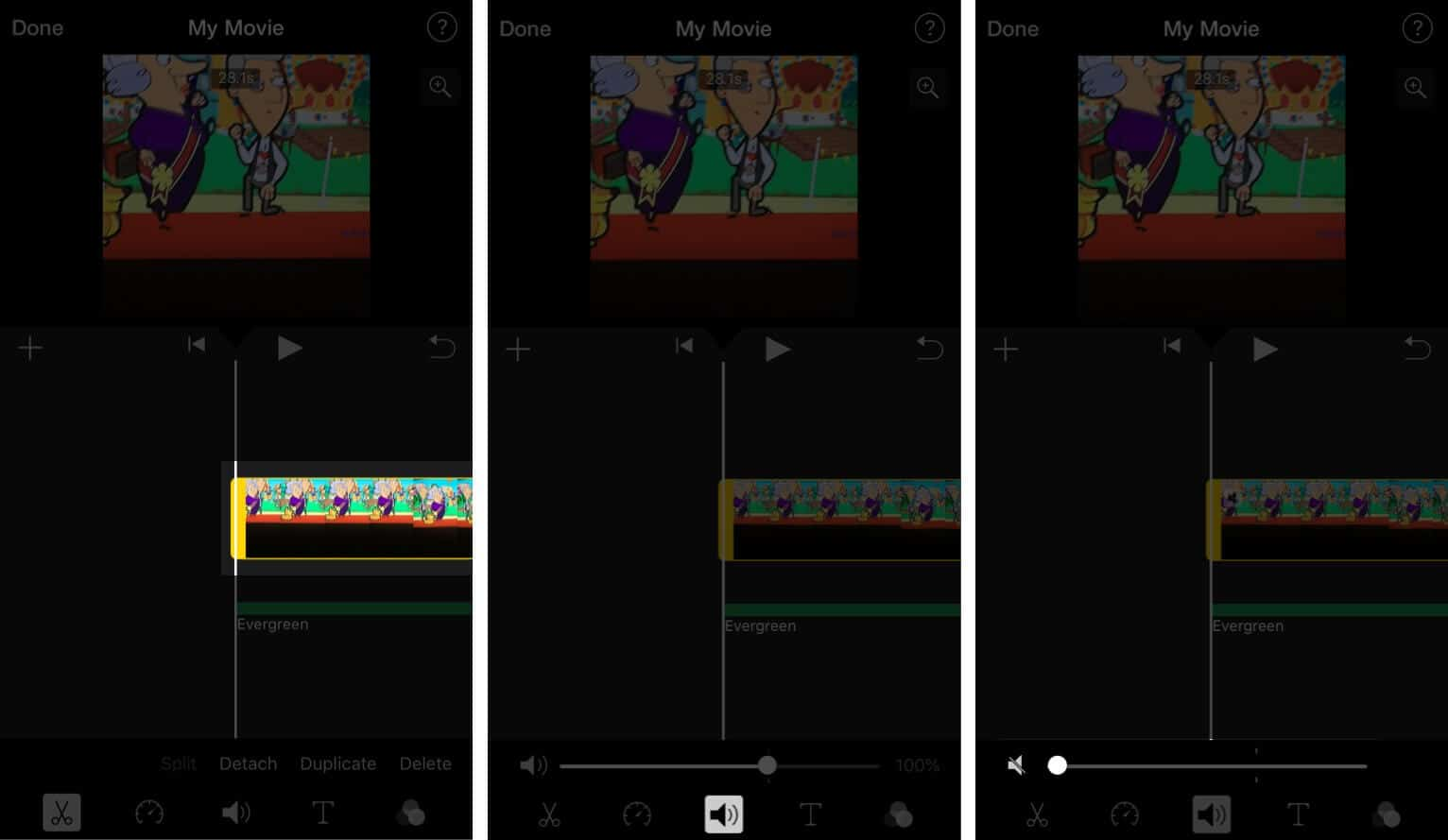 Disable Original Video Sound in iMovie App on iPhone