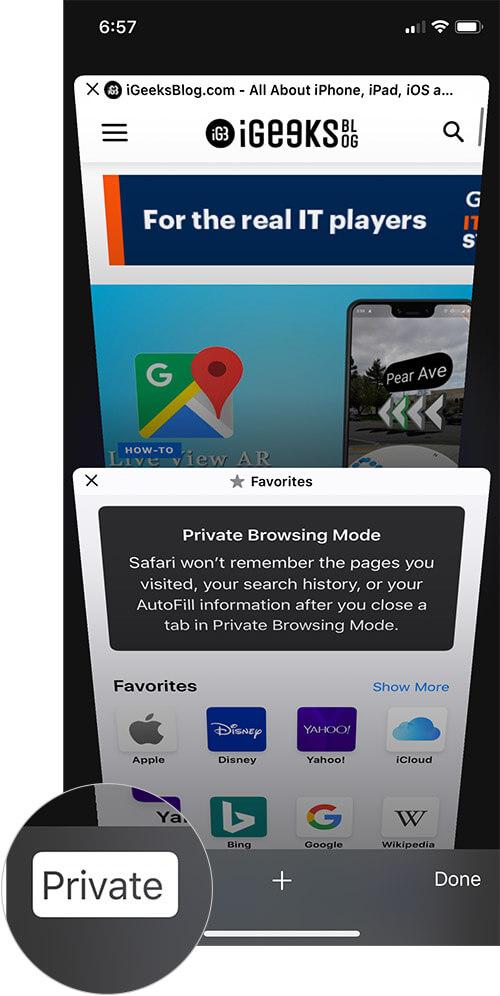Disable Private Browsing in Safari on iPhone or iPad