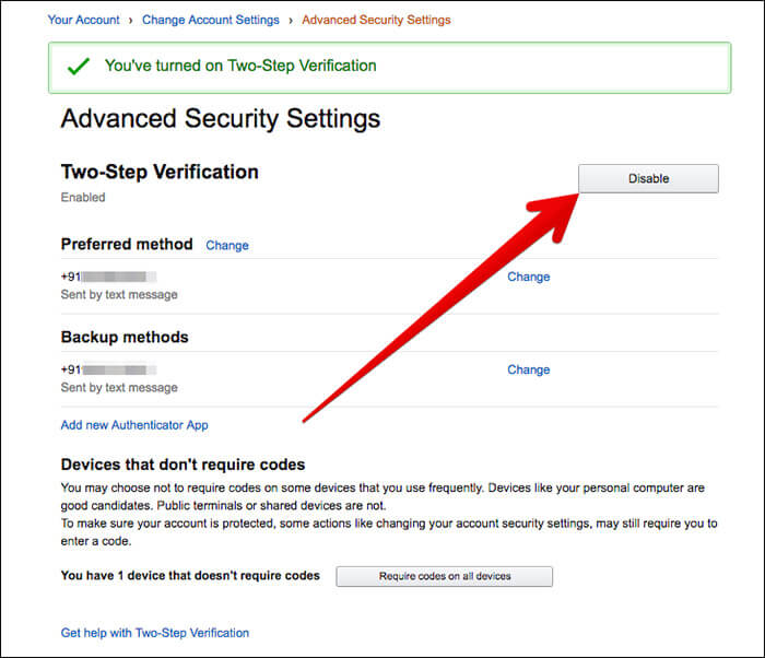 Disable Two-Step Verification in Amazon