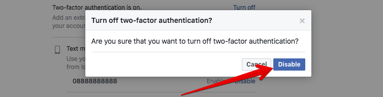 Disable Two-factor Authentication for Facebook on PC