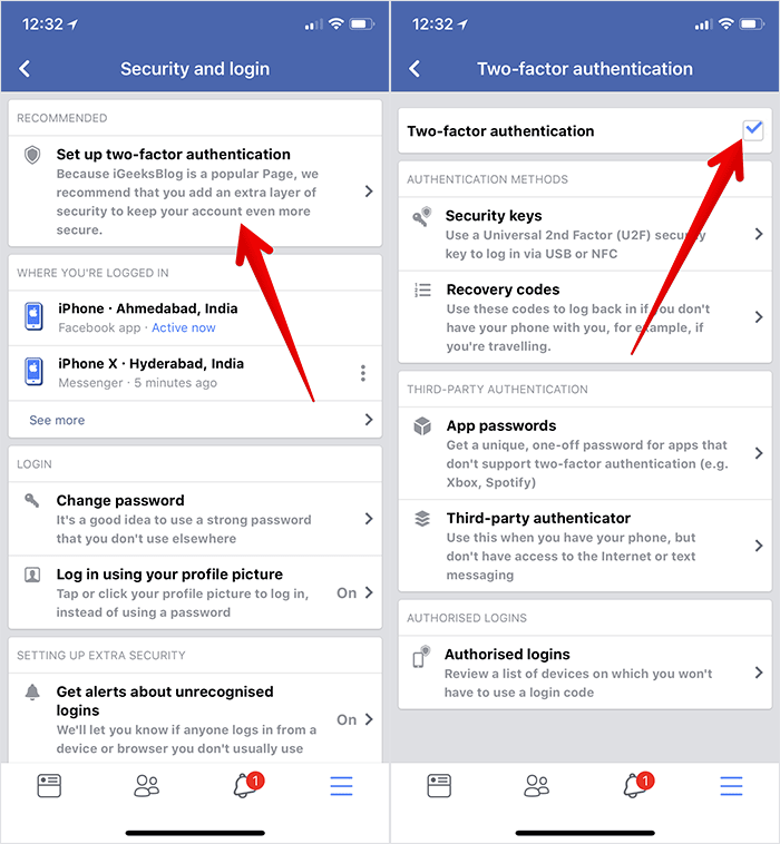 Disable Two-factor Authentication in Facebook on iPhone