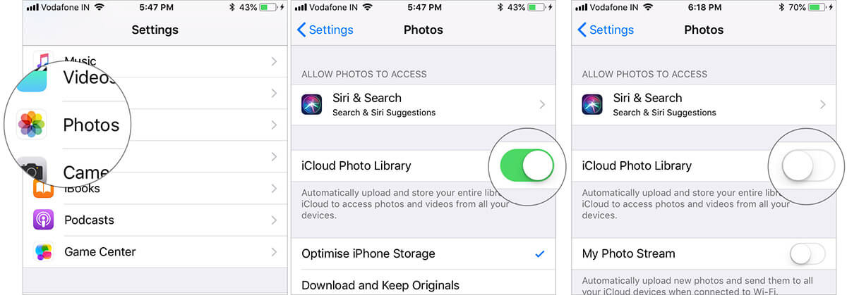 Disable iCloud Photo Library from iPhone Photos Settings