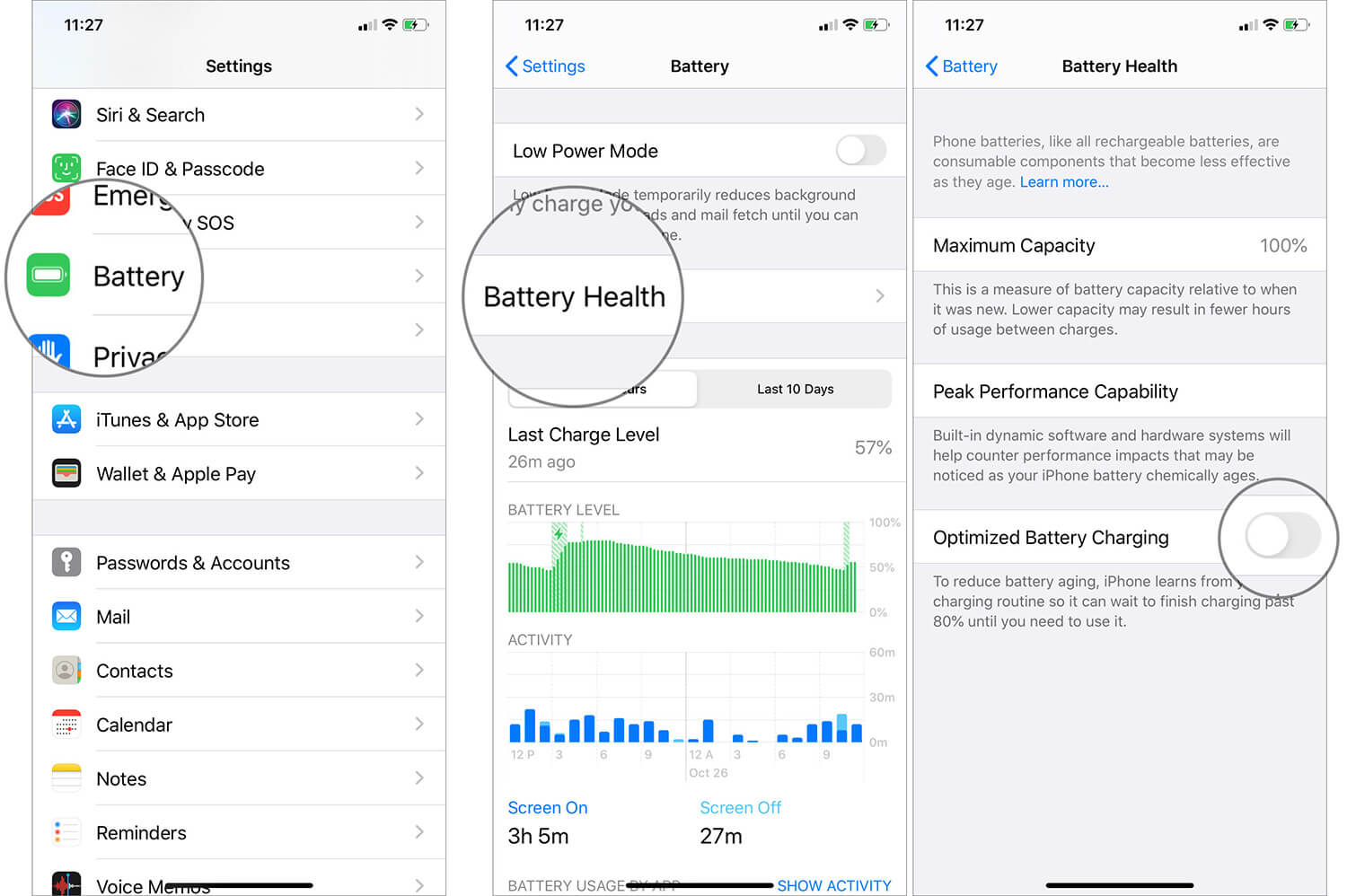 Disabling the Optimized Battery Charging on iPhone 11