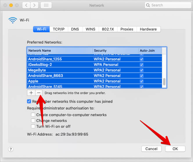 Disconnect All Wi-Fi Networks from Mac