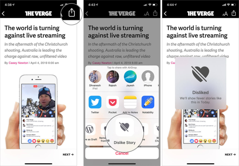 Dislike An Article in Apple News app