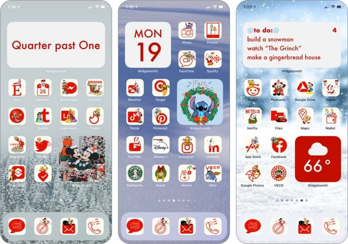 Disney Themed Christmas App Icons for iPhone Screenshot