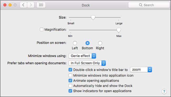 Dock Customization Options in macOS Sierra