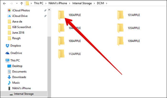 Double Click Folder in DCIM Folder on Windows
