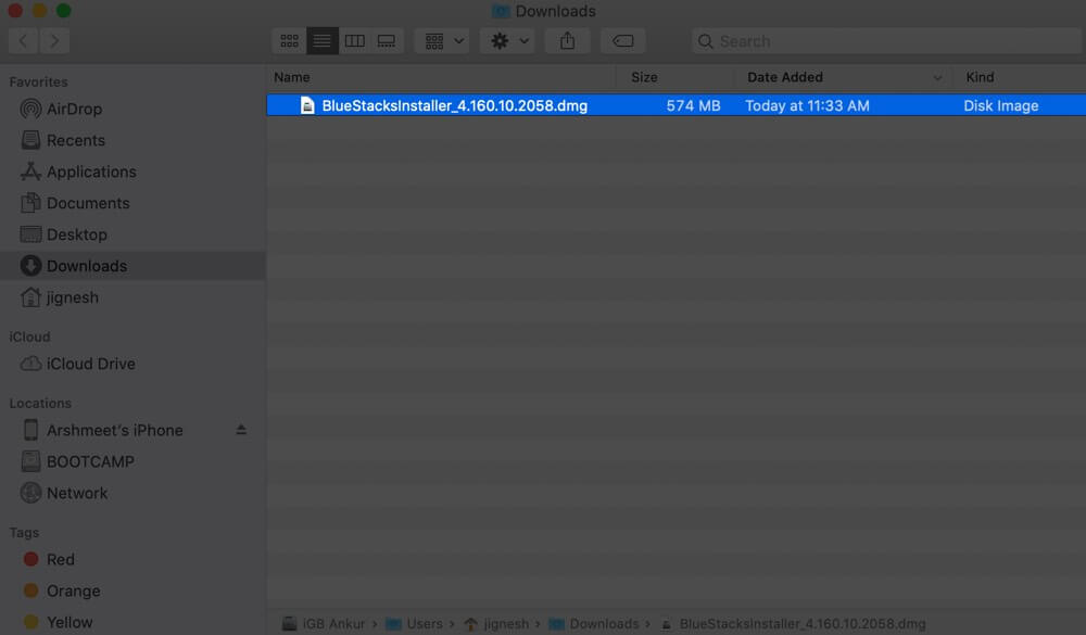Double Click on Bluestacks Installer File in Mac Finder