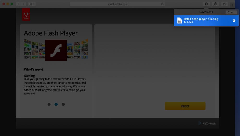 Double Click on Flash Player dmg File on Mac