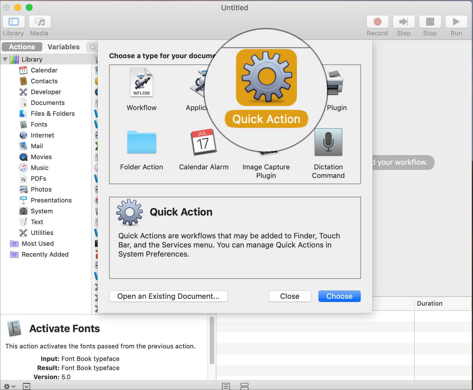 Double Click on Quick Action in Mac Automator App