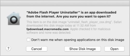 Double click on Adobe flash uninstaller icon on Mac and click open