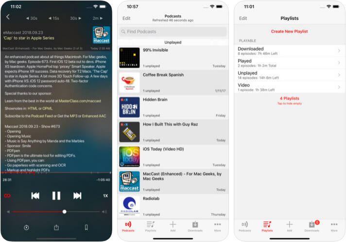 Downcast iPhone and iPad Podcast App Screenshot